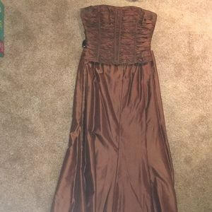 Carmen Marc Valvo Copper corset + ball skirt